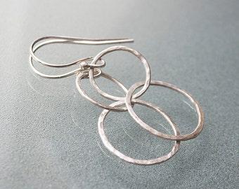 Silver Double Hoop Earrings - Graduation Jewelry Gift - Eternity Circle - Minimal Earrings Silver - Interlocking Circle Earrings