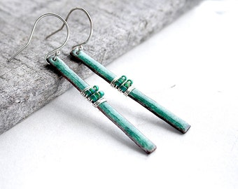 Long Bar Earrings - Turquoise Enamel Earrings - Torch Fired Enamel - Graduation Gift - Copper Anniversary Gift - Handmade Enamel Jewelry