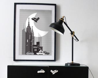 New York city poster- black and white - New York city - nursery