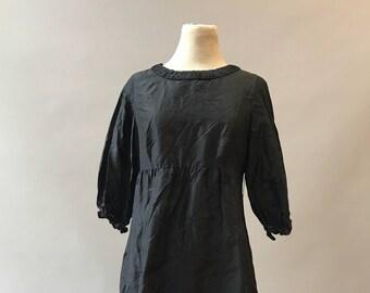 Vintage 1990s Black Taffeta Babydoll Dress Medium