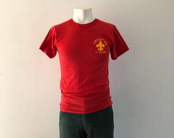 Vintage Boy Scouts Tshirt   cassée en Tshirt   BSA Vintage Tee   75 ans  Tshirt Boy Scout   Retro cassé dans Tee   troupe 413 6b7dddea869