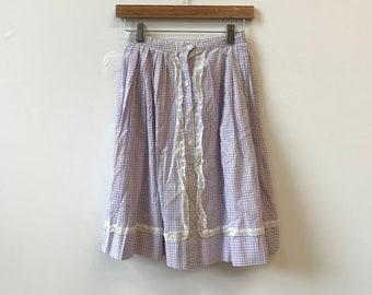 11cb255e96 Cotton Purple Plaid Skirt with Lace