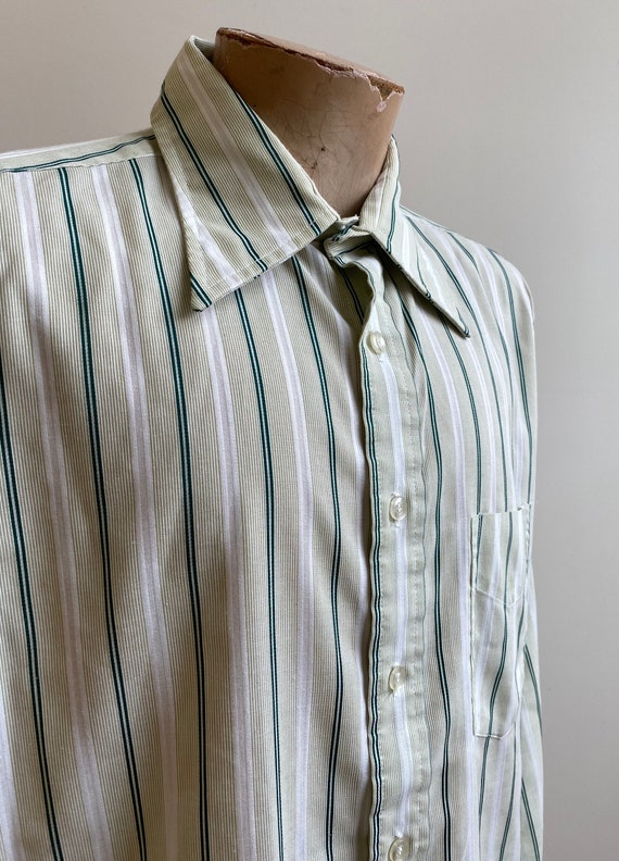 Green Striped Vintage Button Down / Vintage 1970s… - image 3