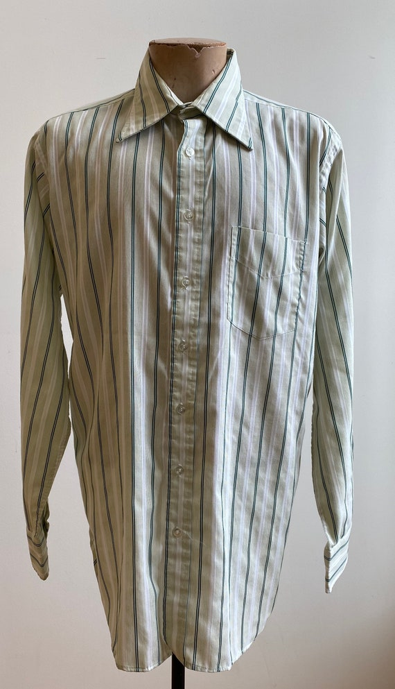 Green Striped Vintage Button Down / Vintage 1970s… - image 2