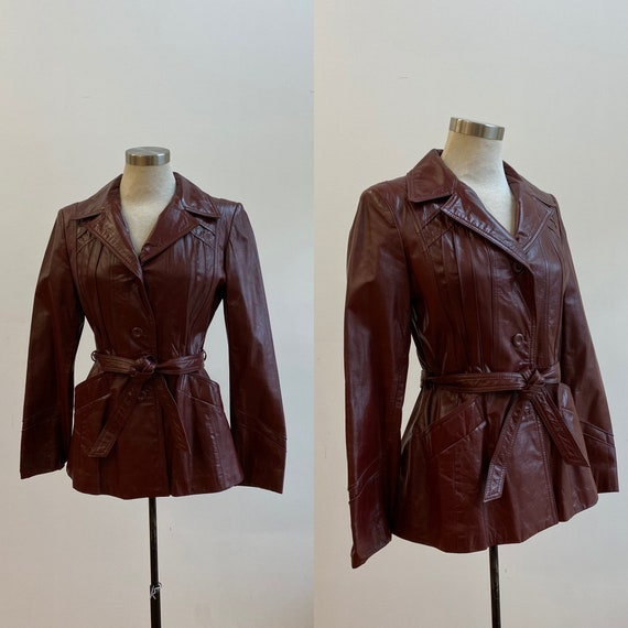 Vintage 1970s Maroon Leather Jacket / Vintage Red
