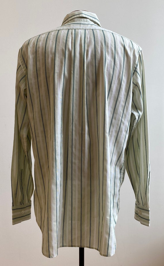 Green Striped Vintage Button Down / Vintage 1970s… - image 7