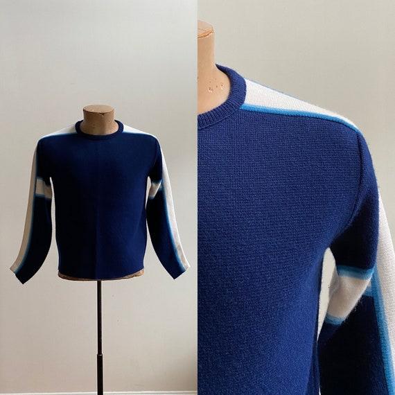 1970s Ski Sweater / Mens Knit Sweater / 70s Sweate