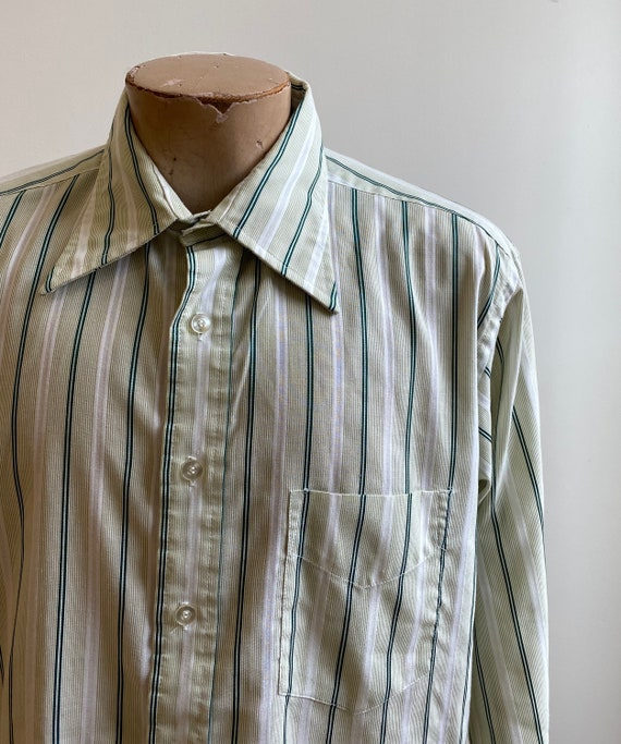 Green Striped Vintage Button Down / Vintage 1970s… - image 6
