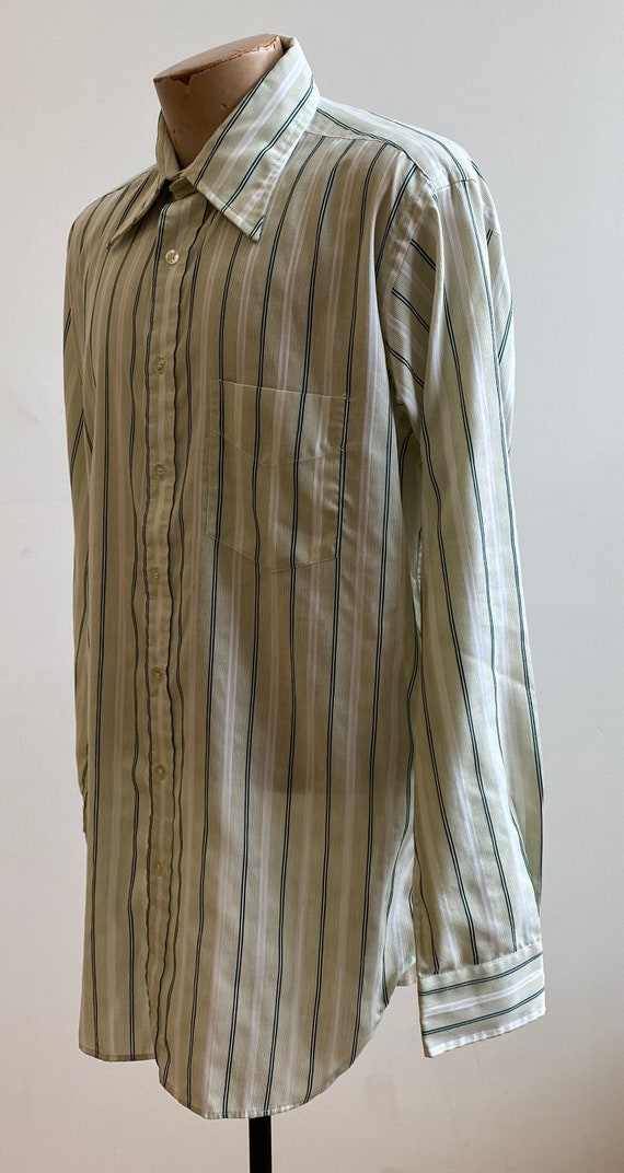 Green Striped Vintage Button Down / Vintage 1970s… - image 5