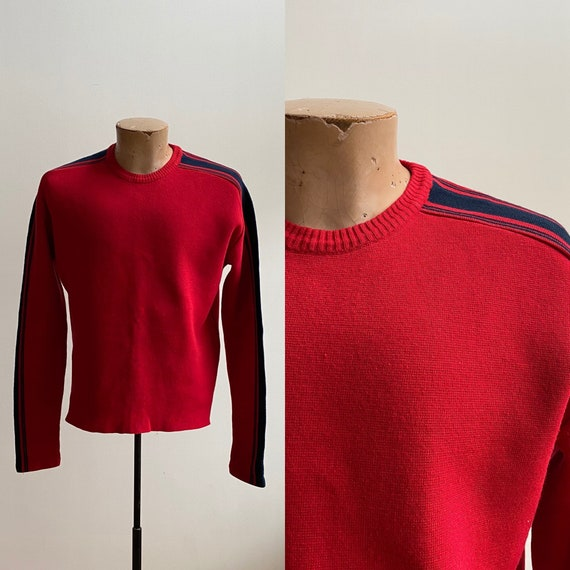 1970s Red Ski Sweater / Mens Knit Sweater / 70s Sw