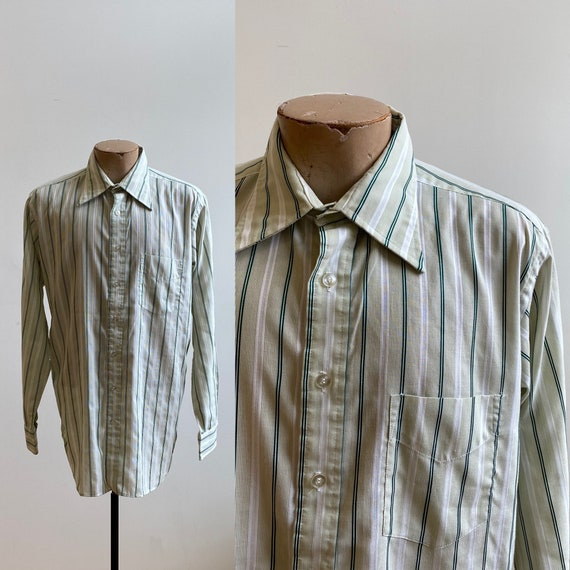Green Striped Vintage Button Down / Vintage 1970s… - image 1