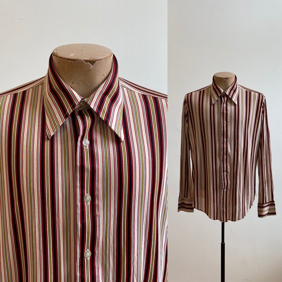 Striped Vintage Button Down / Vintage 1970s Button