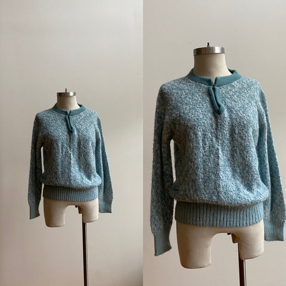 1970s Knit Sweater / Vintage Baby Blue Sweater / C