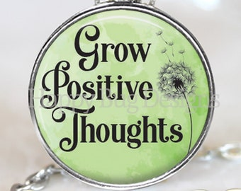 Grow Positive Thoughts Changeable Magnetic Pendant Necklace with Organza Bag