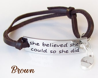 BROWN She Believed She Could So She Did Bracelet / Anklet with Believe Charm Dangle and Adjustable Leather Band Fits up to 9""