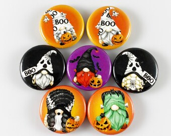 Halloween Gnome Magnets - Set of 7 One Inch Magnets