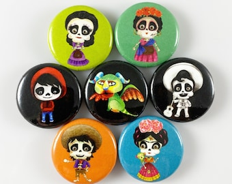 Day of the Dead - Set of 7 One Inch Magnets