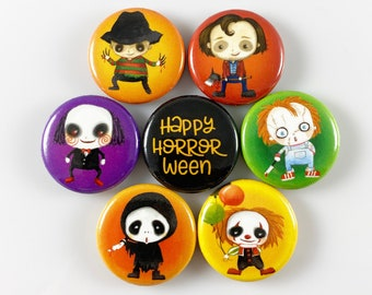Halloween Horror Villains - Set of 7 One Inch Magnets