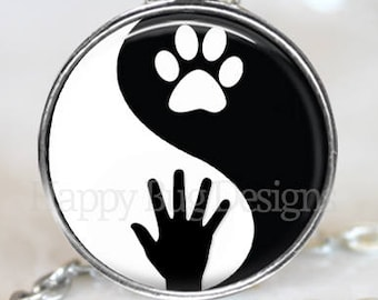 Yin Yang Human Hand and Dog or Cat Paw Changeable Magnetic Pendant Necklace and Paw Print Organza Bag