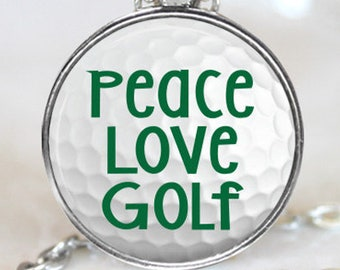 Peace Love Golf Magnetic Pendant Necklace with Organza Bag
