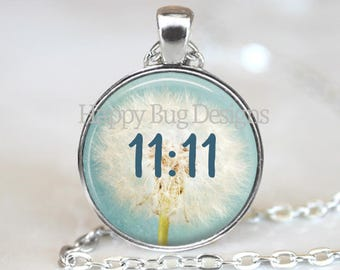 """Dandelion Wish Flower with 11:11 Make A Wish Changeable 1"""" Magnetic Pendant Necklace with Organza Bag"""