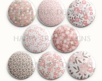 """Pink Floral Set of Eight 1"""" One Inch Magnets"""