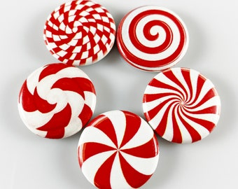 """Peppermint Christmas Candy Set of Five 1"""" One Inch Magnets"""