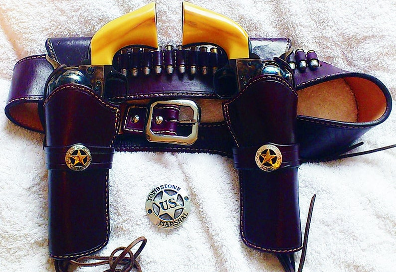 Custom Western Marshall Holster and Gunbelt DOUBLE HOLSTER RIG Choose Color