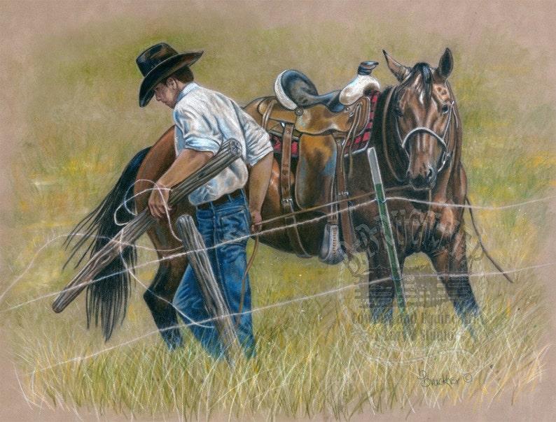 Cowboy y caballo cuarto de milla impresión de dibujo a lápiz color - B  Bruckner