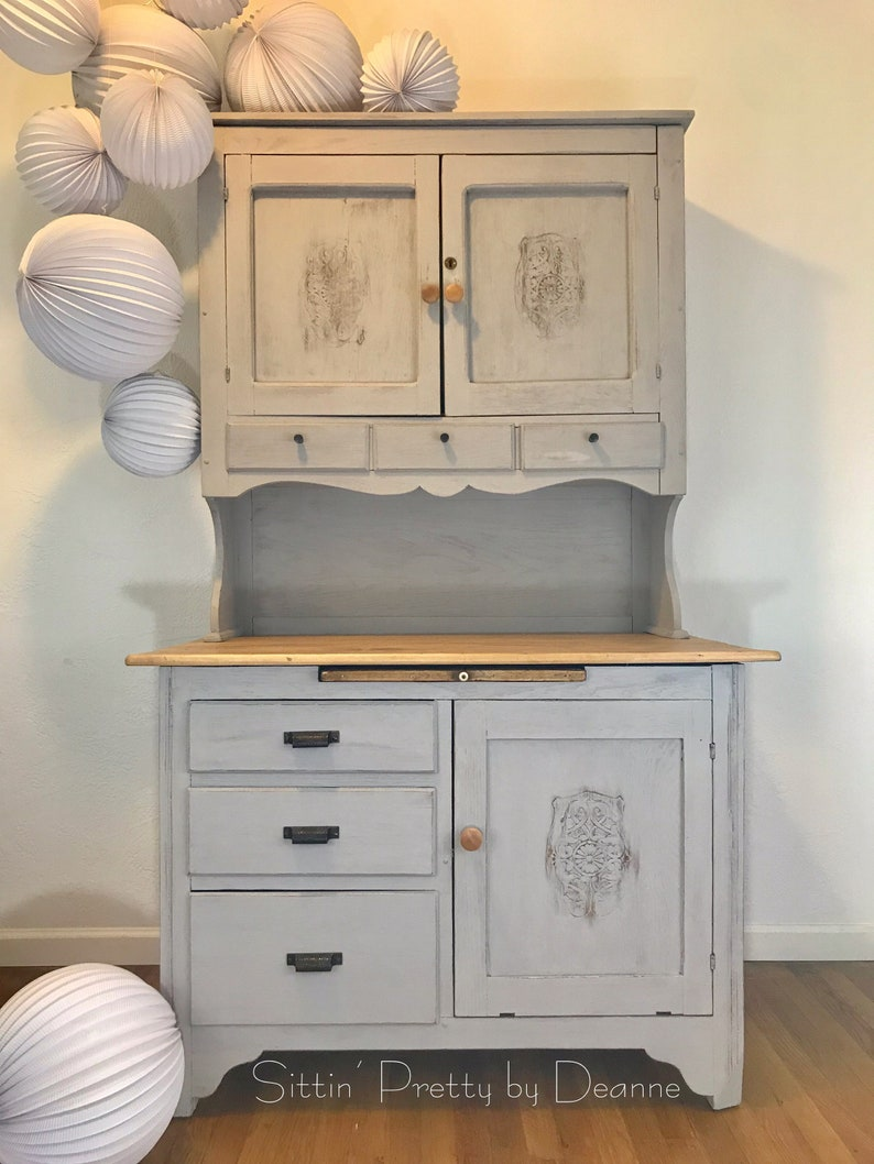 Antique Hoosier Cabinet Gray And Wood With Carved Details