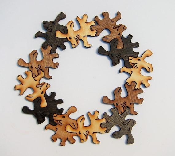 Puzzle chiots pavages en bois. Lot de 12