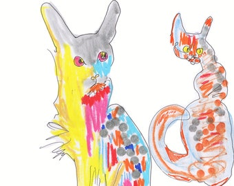 COLOURFUL CATS Limited Edition Drawing Print  / Cats / Art / Giclée / sizes a4+