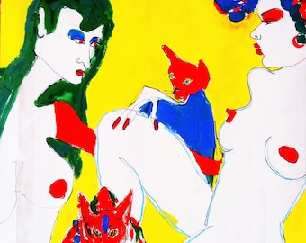 Cat Ladies Lounging in Yellow/ Cat Art / Acrylic / Cat Lady / Lesbian/  ORIGINAL Painting