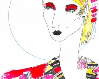 FULL MOON FANNIE / Drawing Print  / fine art  / queer  / lgbtq  ( sizes a4 + )