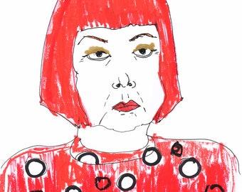 YAYOI KUSAMA / Drawing Special Edition Print / Portrait / mixed media / Woman / size a4