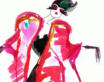 Watercolour Fashion Illustration / Limited edition print / Drawing size a4