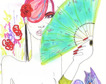Cat Lady with Fan Drawing Print / Nude / Woman / Cats / Art / Flamenco / size a4+