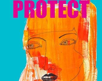 PROTECT TRANS KIDS / Drawing Print / lgbtq / lgbt art / transgender / activism (size/price range a4 & a3)