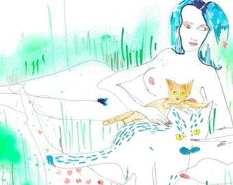 Cat Lady Dita / ORIGINAL mixed media painting / Cat Art / Acrylic