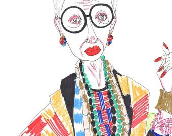 IRIS APFEL Drawing Print / Portrait/ mixed media / advanced style / Groovy Granny / fashion icon /  sizes a4-a3