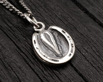 Horse Hoof Charm Pendant Necklace - Solid Hand Cast 925 Sterling Silver- Custom Personalized Engraving Available - Bridle Tack Tag Gift