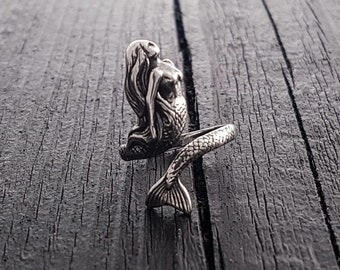 Mermaid Wrap Ring - Solid Hand Cast Sterling Silver - Polished Oxidized Finish - Multiple Sizes -  Ocean Sailor Inspired Jewelry
