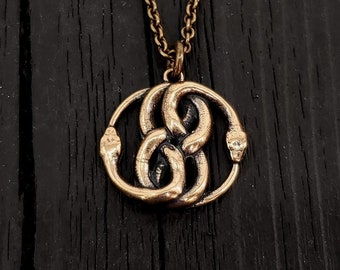 3D Auryn Ouroboros Pendant Necklace - Solid Cast Bronze - Never Ending Story Serpent Snake Infinity Knot - Unisex Jewelry Gift