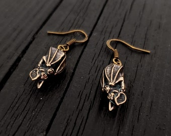 3D Hanging Vampire Bat Earrings - Solid Hand Cast Bronze - Highly Detailed - Roosting Bat