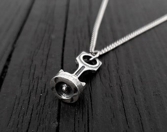 Piston and Rod Pendant Charm Necklace - Solid Cast 925 Sterling Silver - Polished Oxidized Finish - Multiple Chain Options - Mechanic Gift