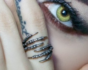Double Raven Claw Talon Wrap Ring - Solid Hand Cast Silver Plated White Bronze - Crow Bird Foot Jewelry Gift Sizes 5 to 10