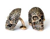 Sugar Skull Cufflinks in Solid Bronze Sugar Skull Cuff Links Day of the Dead