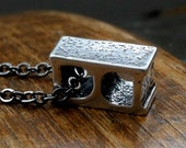 Cinder Block Necklace Solid Sterling Silver Cinder Block Pendant Necklace