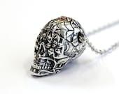 Sugar Skull Necklace Silver Sugar Skull Pendant Necklace Sugar Skull Jewelry