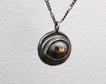 d9945bcdf Raven Eye Necklace Eye of the Raven Protection Amulet Necklace in Solid  Bronze